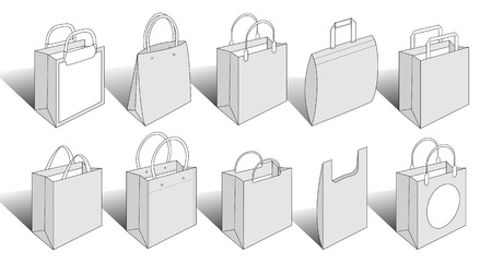 illustrated packaging items contains paper and plastic shopping bags. Check out my other versions Illustration