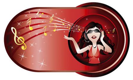 young woman feeling happy listen to music Vector