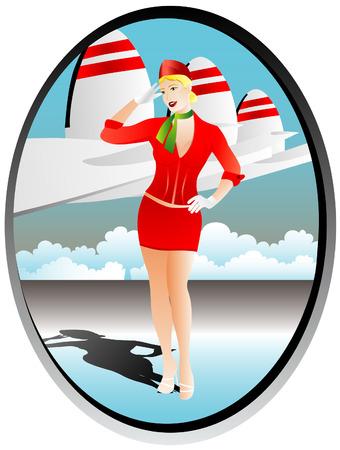 azafata de vuelo: azafata en el aeropuerto  Vectores