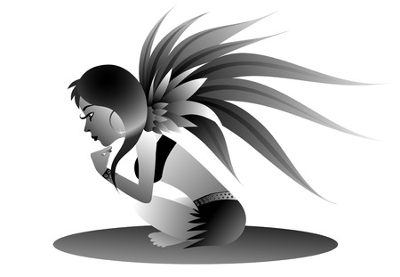 fine illustrated black n white fairy. Not only for tattoo Stock Vector - 4858626