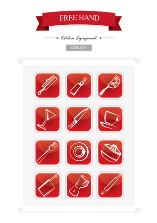beautifull: A beautifull illustrated hand design kitchen icons