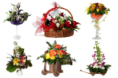 Collage of various colorful flower arrangements isolated on white  photo