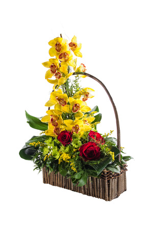 Colorful flower bouquet arrangement isolated on white  photo