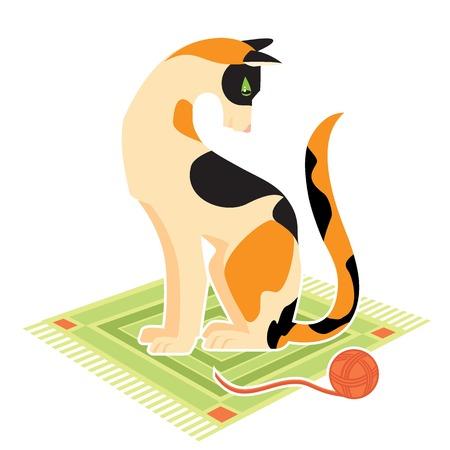 groviglio: Gatto con groviglio Vettoriali