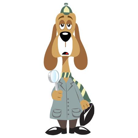 cartoon dog: Cartoon dog detective Illustration