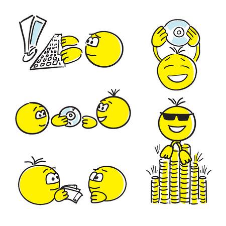 successful work. Smile. Face Illustration