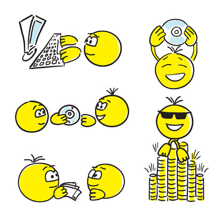 funny cartoon: successful work. Smile. Face Illustration