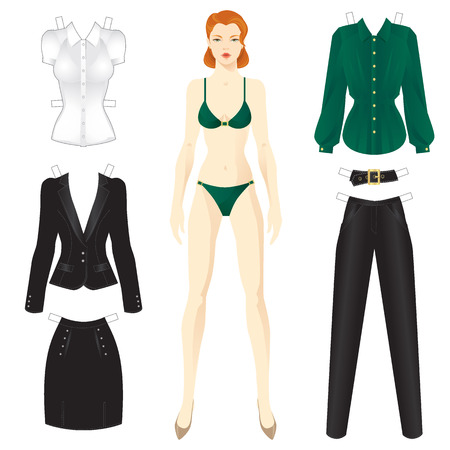 elegant woman: Doll with clothes. Set of template paper clothes for everyday.