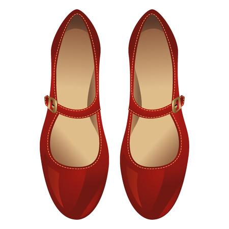 발등에 걸쳐 스트랩과 빨간 구두