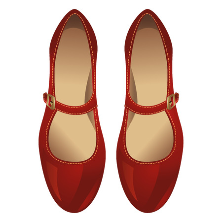 heel strap: Red shoe with strap across the instep Illustration