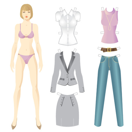 mindennapi: Doll with clothes. Set of template paper clothes for everyday. Vector illustration