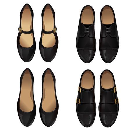 chaussure: Ensemble de l'homme en cuir noir et cuir chaussures femme chaussures noires Illustration