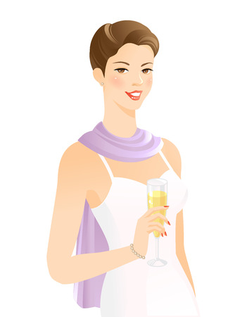 Elegance pretty woman with champagne glass Illustration