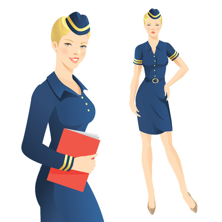 blue eyes: Air hostess in official clothes. Stewardess Illustration