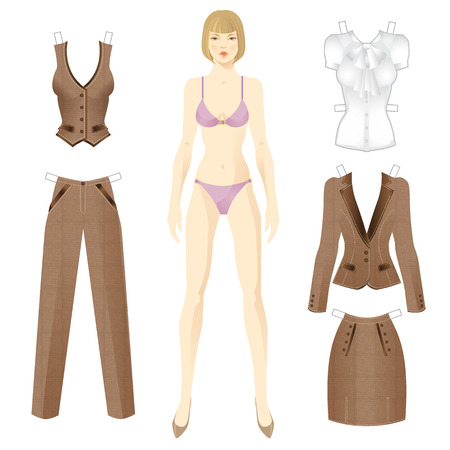 skirt suit: Doll with clothes. Set of template paper british style clothes. Tweed suit. Vest, pants, skirt, jacket and blouse