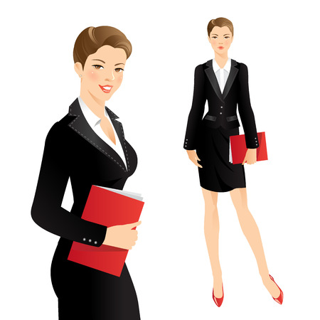 buisness woman: Business girl or professor in official black suit Illustration
