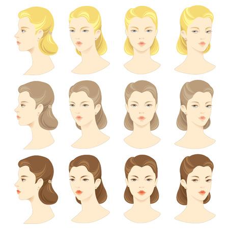 caras: Conjunto de vector de cara de mujer hermosa. Cara delante. Cara de perfil. Cabello rubio, pelo negro, pelo castaño