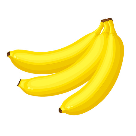 potassium: Vector illustration of Bunch of banana isolated on white