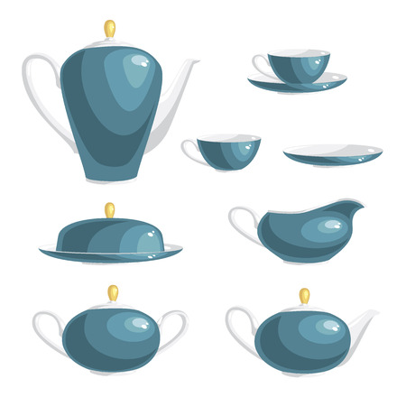 Set of dishes. Teapot, gravy boat, sugar bowl, cup, plate, butter-dish