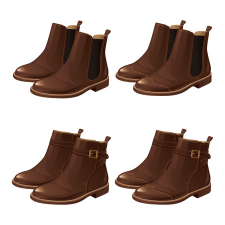 Set of different model shoes. Chelsea boots, Boots with ankle strap Ilustrace
