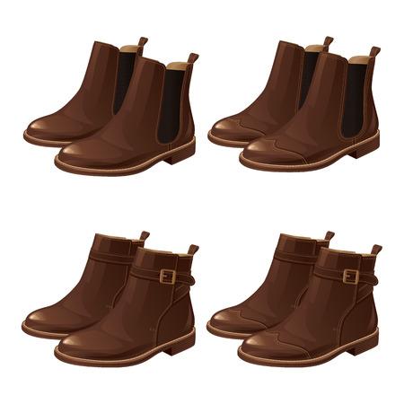Set van verschillende model schoenen. Chelsea laarzen, Laarzen met enkelband Stock Illustratie