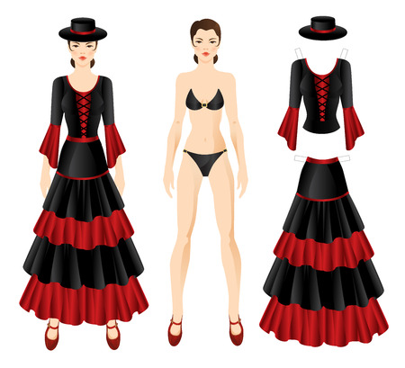 spanish dancer: Doll with clothes. Set of template paper clothes of flamenco dancer. Woman in spanish clothes.
