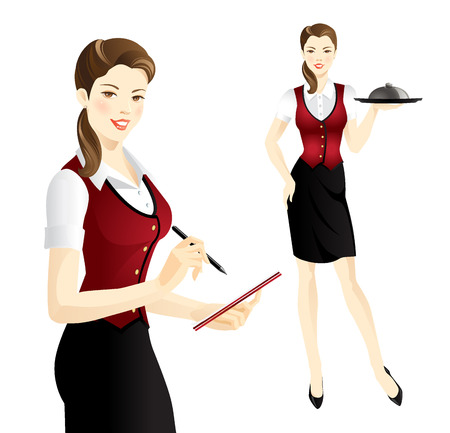 uniform: The waitress takes an order. Waitress with tray. Pretty woman in uniform