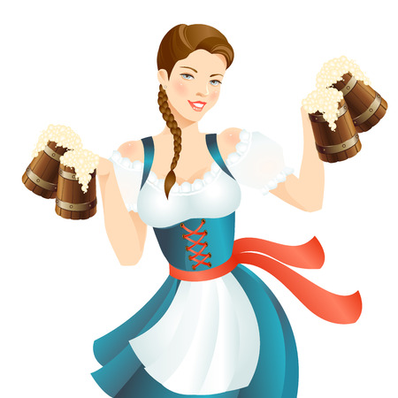 bavarian girl: Pretty girl with beer. Woman in bavarian national dress. Illustration