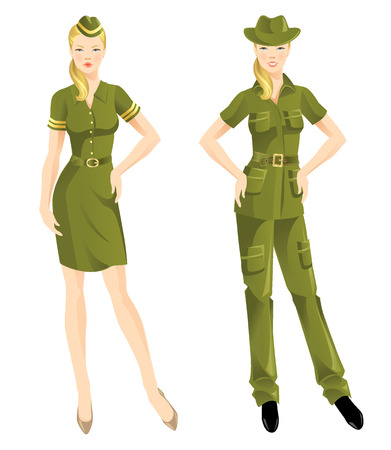 Woman in military wear. Woman in clothes for hike.