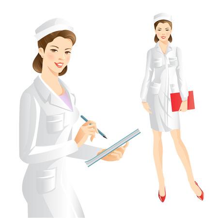 caricatura enfermera: Enfermera escribió en el documento. Doctor que sostiene una carpeta. Una mujer con una sonrisa en la ropa médica