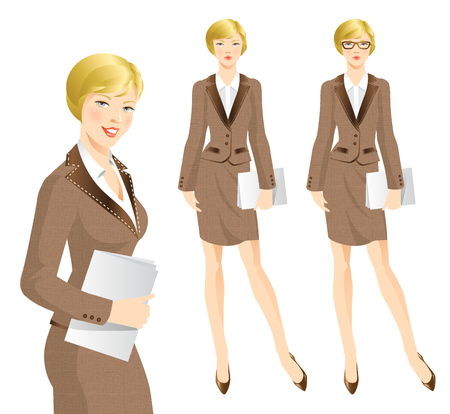 businesswoman skirt: Business woman or professor in tweed suit. Woman in glasses. Blonde women holding documents Illustration