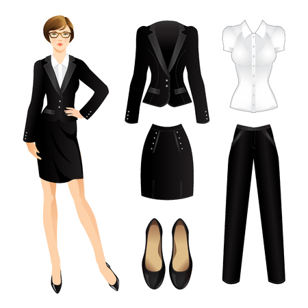 official wear: Office clothes. Clothes for women. Business girl or professor in official black suit. Woman in glass