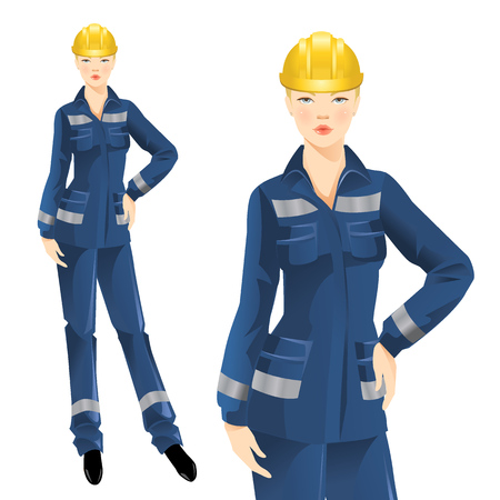 protective wear: woman worker in protective wear and helmet