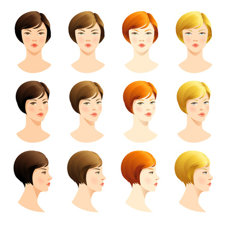 Vector set of beautiful woman face. Various color of bob haircuts. Various turns heads. Face in front. Face in profile. Blond hair, red hair, brown hair, brunette hair, Ilustrace