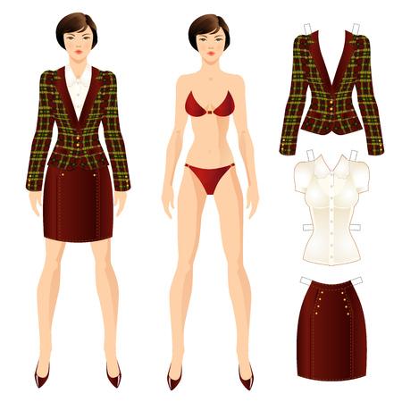franela: Mu�eca con ropa. Conjunto de ropa de papel plantilla. Chaqueta o chaqueta de las mujeres, falda y blusa Vectores