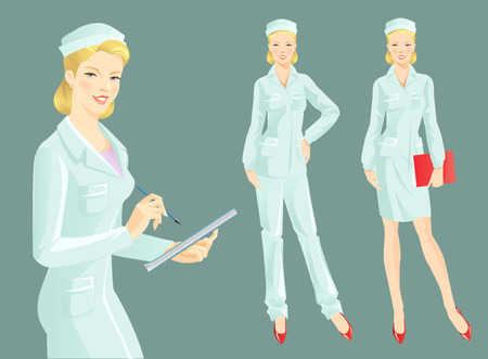 clever: Isolated vector illustration nurse or doctor in medical clothes