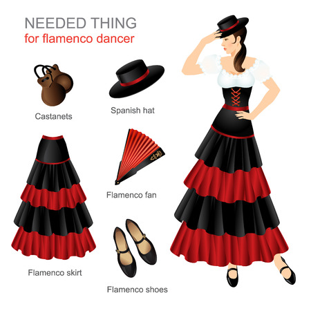 Needed thing for flamenco dancer. Woman in spanish costume. Women dress hat on head. Flamenco skirt, flamenco shoes with ankle strap, spanish hat, castanets
