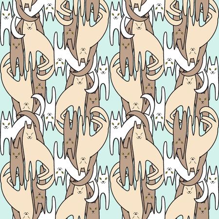 fanny: Pattern cartoon fanny cats. Pattern for children