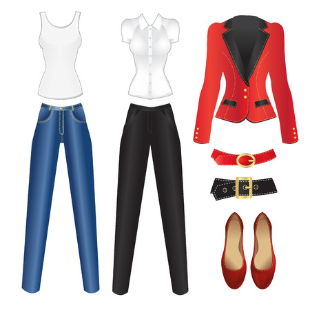 court shoes: Vector set of woman clothes for weekend and for office. Blue jeans, shirt, court shoes, red belt, black belt, red jacket, black pants Illustration