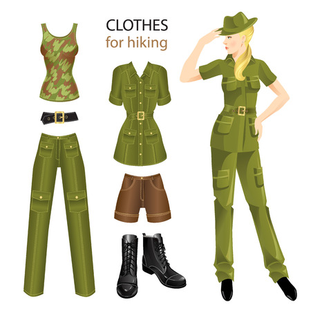 Set of clothes in military style for hiking. Woman in clothes for hiking