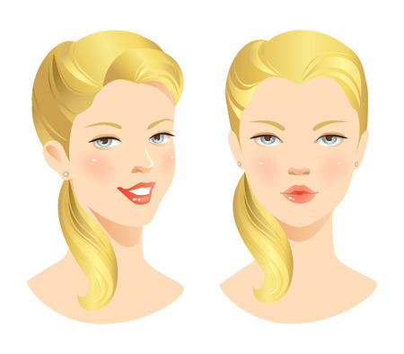 turns: Beauty girl face. Various turns heads. Pretty woman face with various emotion Illustration
