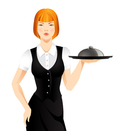 redhead woman: waitress with tray. Redhead pretty woman
