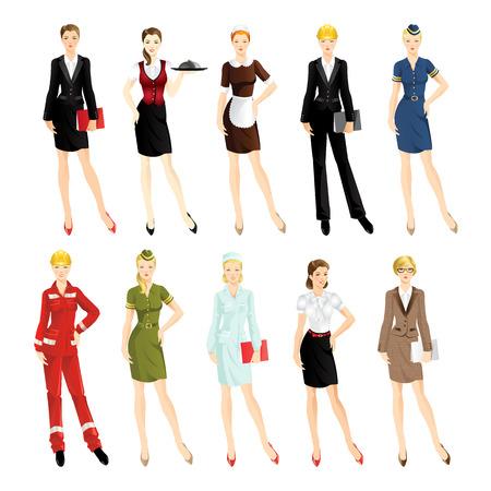 Set of professional woman isolated on white background. Ilustrace