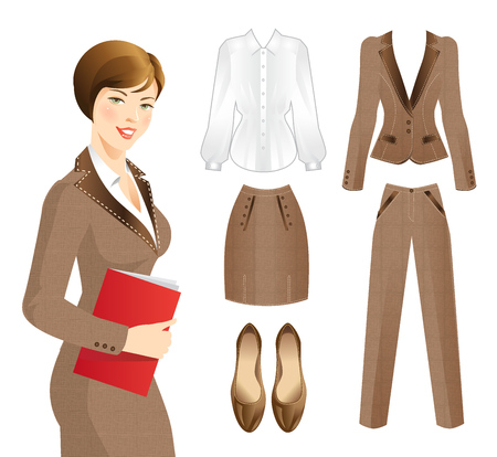 skirt suit: Office clothes. Clothes for women. Business woman or professor in tweed suit. Women holding documents