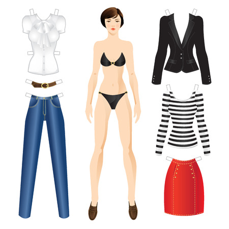 frenchwoman: Doll with clothes. Body template. Set of template paper clothes for everyday Illustration