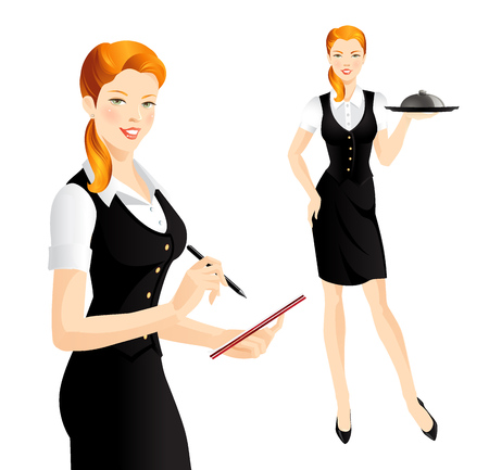 redhead woman: The waitress take order. Waitress with tray. Redhead woman in uniform