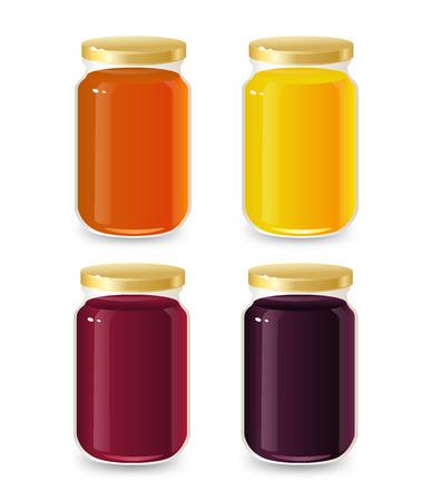 manjar: Frascos de vidrio de plantilla para mermelada y miel