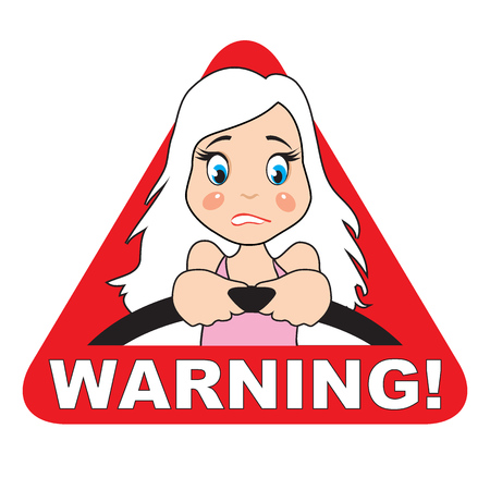 woman behind: Warning icon. Cartoon blonde woman behind the wheel