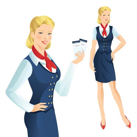hotesse de l air: Belle hôtesse de l'air blonde. Hôtesse de l'air tenant un billet à la main. Femme dans les vêtements officiels Illustration