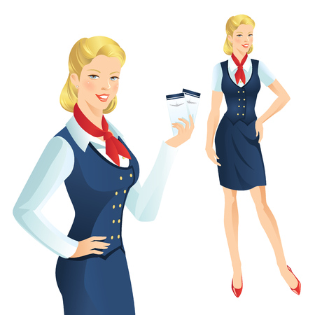 Beautiful blonde air hostess. Stewardess holding ticket in her hand. Woman in official clothes Illustration